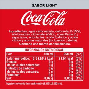 Refresco light cola coca cola  pet 50cl