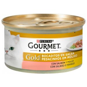 Comida gato  salmon/pollo gourmet gold  85g