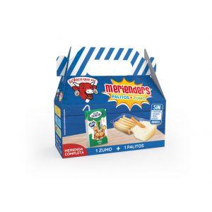 Palitos crema de queso con palitos de pan para mojar+zumo piña y uva 100 exprimido caja 162g