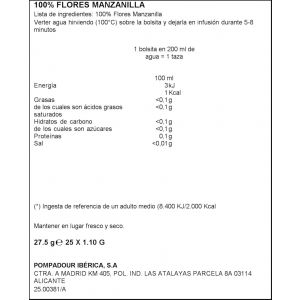 Infusion manzanilla pompadour 25 sobres