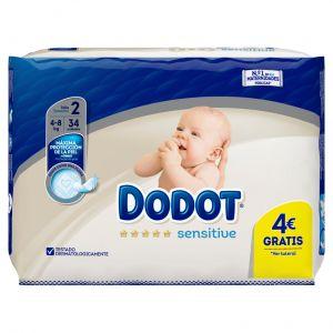 Pañal recien nacido t2 3-6kg dodot sensitive 34 ud