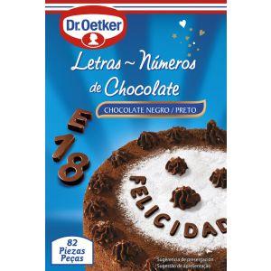 Letras y números de chocolate negro con 82piezas dr.oetker