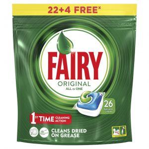Lavavajillas máquina pastilla fairy todo en 1 22+4 dosis