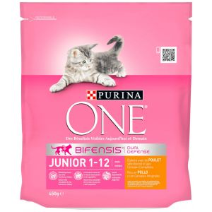 Comida gato junior pollo arroz one  450g