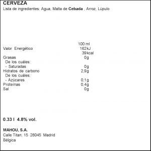 Cerveza budweiser botella 33cl