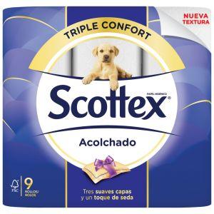Papel higienico acolchado scottex 3capas 9unidades