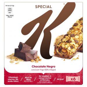 Barritas de cereales y chocolate special k kellogg's paquete de 6 unidades de 20g