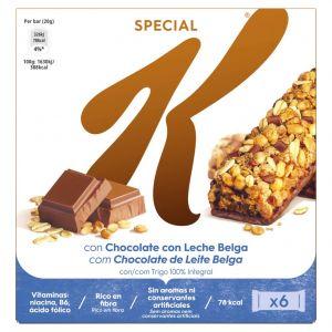 Barritas de cereales con choclate con leche special k kellogg's un paquete de 6 unidades de 20gr