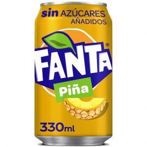 Refresco s/azucar piña fanta lata 33cl