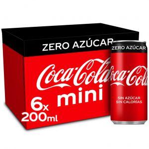 Refresco cola zero coca cola lata p-6x20cl