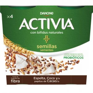 Yogur espelta coco cacao activia p4x 120g