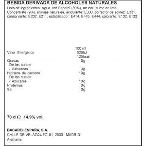 Ron bacardi botella de 70cl