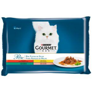 Comida gato laminas en salsa gourmet perle p4x85 grs