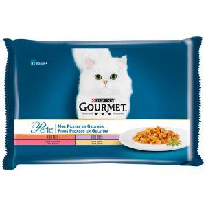 Comida gato laminas en gelatina gourmet perle  p4x85 gr