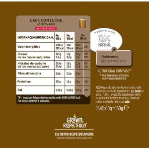 Cafe en capsulas con leche descafeinado dolce gusto 16 capsulas