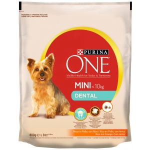 Comida perro pollo y arroz one mini dental +10kg 800gr