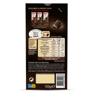 Chocolate negro sin azucar 70% nestle  125g