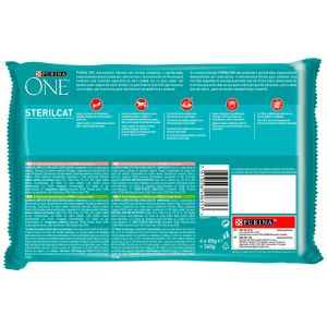 Comida gato esterilizado salmon/pavo purina one p4x85g