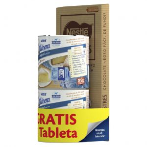 Lote leche condensada la lechera pack 2 unidades de370g + chocolate para postres nestlé 250g