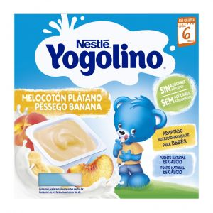 Postre lacteo s/az melocoton y  platano  yogolino nestle p4x100gr