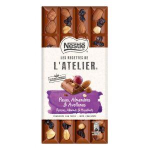 Chocolate con  leche pasas- avellanas y  almendras  atelier 170gr