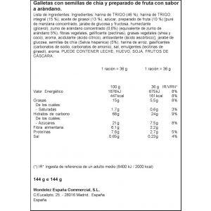 Galleta semilla chia-arandanos  fontaneda 144gr