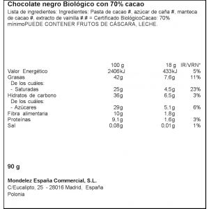 Chocolate negro 70% suchard bio  90g