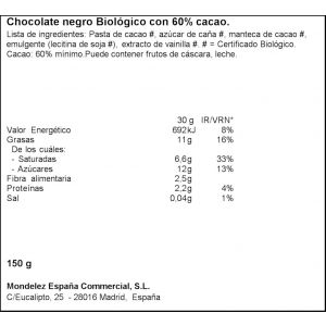 chocolate bio negro puro suchard 150g