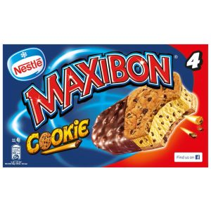 Helado maxibon cookie nestle p4x150ml