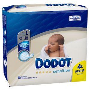 Pañal recien nacido t1 2-5kg dodot sensitive 28 ud