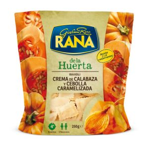 Parta fresca rellena de crema de calabaza y cebolla caramelizada rana 250g