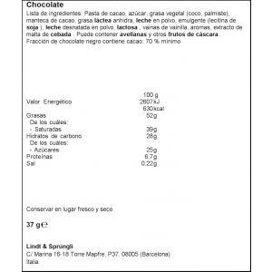 Bombon mini cornet negro 70% lindor lindt 37g