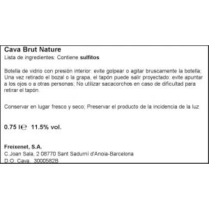 Cava brut nature  freixenet carta nevada botella de 75cl