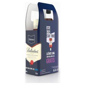 Whisky ballantines 5 años 70cl+coca cola zero 125l on pack