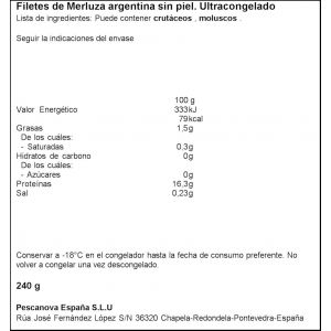Filete merluza s/piel pescanova 240gr