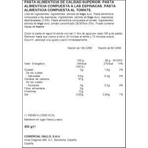 Pasta pajarita vegetal gallo 450g