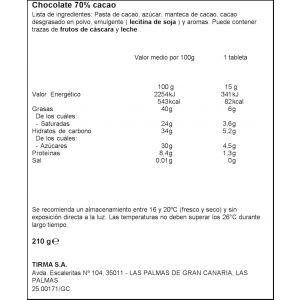 Chocolatina mini 70% cacao tirma 210g