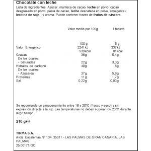 Chocolatina mini 50% cacao 30% menos azucares tirma 210gr