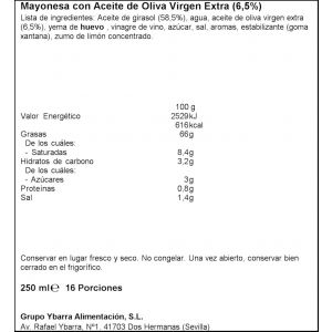 Mayonesa oliva ybarra pet 250ml