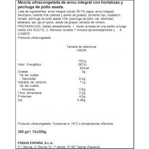 Arroz integral con verdura y pollo findus 350g