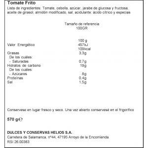 Tomate frito helios frasco 570g