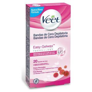 Cera fria depilatoria banda corporal piel normal easy wax veet 20 uds