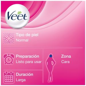 Cera depilatoria fria banda facial piel normal veet 20 uds