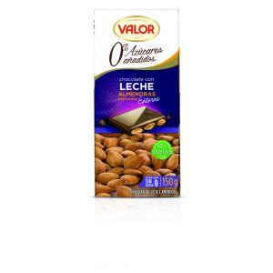 Chocolate con leche sin azucar con almendras valor  150g