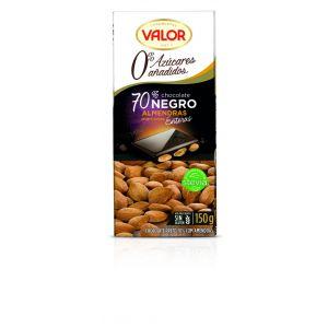 Chocolate sin azucar 70% con almendra valor  150g
