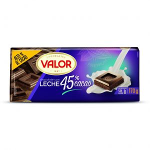 Chocolate con leche 45% cacao valor  170g