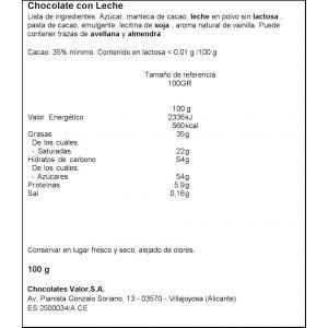 Chocolate sin lactosa leche valor 100gr