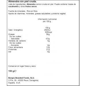 Almendra cruda salados borges 150g