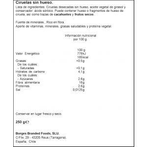 Ciruelas sin hueso borges 250 gr