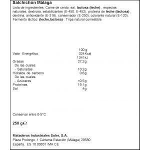 Salchichón málaga prolongo pieza 250g